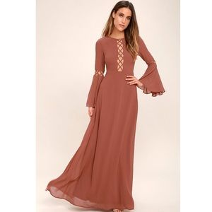 Lulus NOW IS THE TIME RUSTY ROSE LONG SLEEVE MAXI